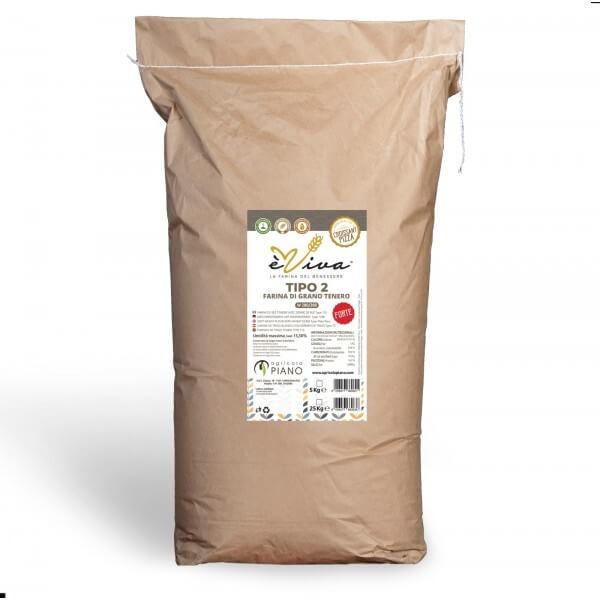 Farina di grano tenero tipo 2 Forte con germe di grano vivo 25 Kg