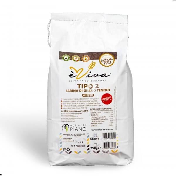 Farina di grano tenero tipo 2 Forte con germe di grano vivo 5 Kg