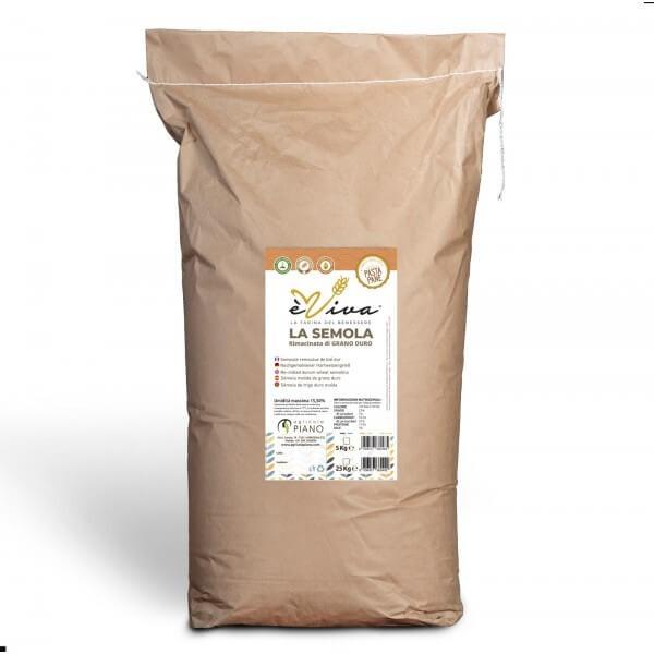 Semola rimacinata di grano duro con germe di grano vivo 25 Kg.